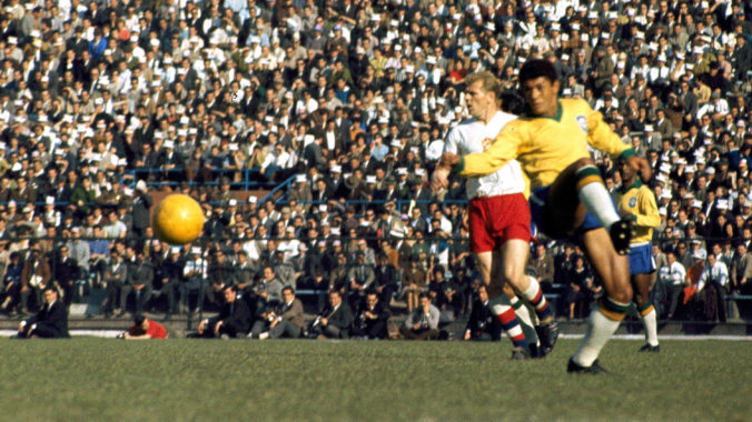 A Brazilian player gains control of the ball during World Cup Final, against Czechoslovakia, on June 17, 1962, in Santiago, Chile. Brazil defeated Czechoslovakia, 3-1 to win the Jules Rimet Trophy. (AP Photo)